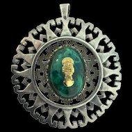 Vintage Large Peru Peruvian ARTE ORFEBRE 925 Sterling & 18K Gold Tumi Chrysocolla Pin Pendant