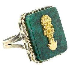 Vintage Peru Peruvian ARTE ORFEBRE 925 Sterling & 18K Gold Tumi Chrysocolla RING Sz 8
