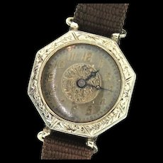 Vintage Art Deco Gallet & Co Pioneer W.C.Co. 14K White Gold 15 Jules Octagon Watch AS IS