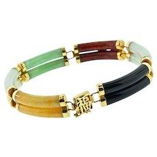 Vintage CHINESE Export 14K 585 Yellow Gold Jadeite Jade Double Row Panel Bracelet
