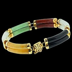Vintage CHINESE Export 14K 585 Yellow Gold Jadeite Jade Double Row Panel Bracelet