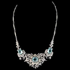 Vintage 1940 Art Deco Philippe TRIFARI Aqua Glass Rhinestone Enamel Flower NECKLACE