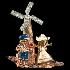 1940s Frank GARGANO Windmill Figural Sterling Mechanical Figural Pin Book Piece
