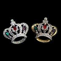 Vintage MAZER Set of Rhinestone Rhodium Goldplated Crown Figural Brooches Pins
