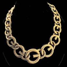 "Vintage GIVENCHY Huge Haute Couture Logo Interlocking ""G"" Link Goldplated NECKLACE"