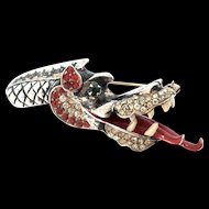 Rare 1940s Urie Mandle Murray Slater Sterling DRAGON Figural Brooch Pin BOOK PIECE