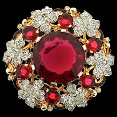 Masterpiece Vintage 1940s Philippe TRIFARI Ruby Glass Rhinestone Enamel BROOCH Pin