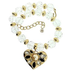 Chunky Vintage GIVENCHY Runway Clear Lucite Bead Rhinestone Heart Pendant NECKLACE