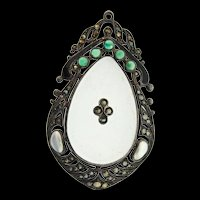 Art Deco THEODORE FAHRNER German Sterling Glass Chrysoprase Marcasite Pearl PENDANT
