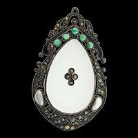 Art Deco THEODORE FAHRNER German Sterling Glass Chrysoprase Marcasite Pearl PENDANT