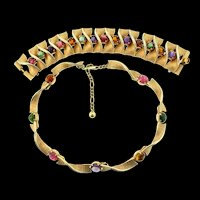 Vtg BOUCHER Multi-Color Glass Cabochon Textured Twist Necklace Wide Bracelet SET