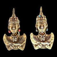 RARE 1930s TRIFARI Figural Sterling Rhinestone Asian Princess Pair Fur Pin Clips