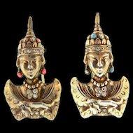 RARE 1930s TRIFARI Figural Sterling Rhinestone Asian Princess Pair Fur Pin Clips