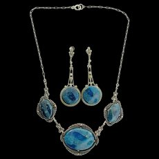 1920s Art Deco GERMAN Sterling Marcasite Lapis Lazuli Necklace & Earrings Set