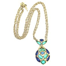 Vintage 1966 TRIFARI Modern Mosaics Sapphire & Emerald Poured Glass Pendant NECKLACE