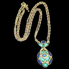 Vintage 1966 TRIFARI Modern Mosaics Sapphire & Emerald Poured Glass Pendant NECKLACE