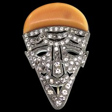 Rare KTF TRIFARI and KRUSSMAN Deco Pave Pierrot Face Mask Bakelite Brooch Pin