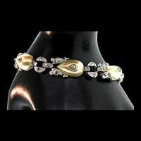1938 Philippe TRIFARI Deco Fx Pearl SHOEBUTTON Teardrop Rhinestone Bracelet