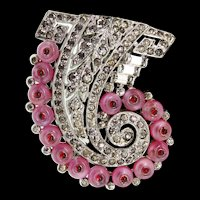 1930s Philippe TRIFARI Deco Pink Shoebutton Ruby Cabochon Rhinestone Pin FUR CLIP