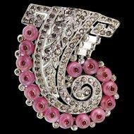 1930s Philippe TRIFARI Deco Pink Shoebutton Ruby Cabochon Rhinestone Pin FUR CLIP