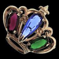 Vintage Sterling Sapphire Emerald Ruby Glass Rhinestone CROWN Figural Brooch Pin