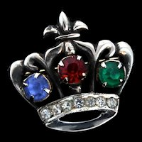 Vintage Sterling Silver Sapphire Emerald Ruby Rhinestone CROWN Figural Brooch Pin
