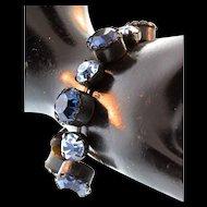 Vintage 1950s SCHIAPARELLI Sapphire Shades of Blue Large Rhinestone BRACELET
