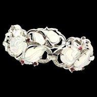 Vintage Philippe TRIFARI Moonstone FRUIT SALAD Ruby Crystal Rhinestone Bracelet