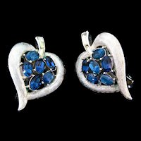 Vintage Philippe TRIFARI Rhinestone Heart Leaf Figural Clip Earrings
