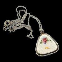 Art Deco Sterling Guilloche Enamel Rose Bird Trillion LOCKET Pendant Necklace