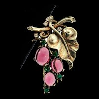 1945 Philippe TRIFARI Sterling Vermeil Rhinestone GRAPES Figural PIN Fur Clip