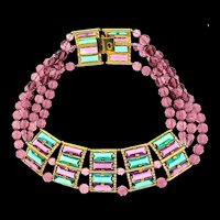1970s WILLIAM DELILLO Runway Couture Massive Glass & Bead Statement COLLAR Necklace