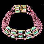 1970s WILLIAM DELILLO Runway Couture Massive Glass & Bead Statement COLLAR Necklace