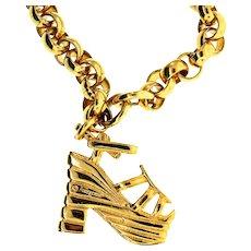 Vintage Salvatore FERRAGAMO Shoe High Heel Charm Chain Link BRACELET