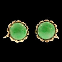 Fine Estate CHINESE Green Apple Jadeite Jade Cabochon 14K Yellow Gold Earrings