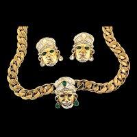 Vintage Italian Blackamoor Genie Figural Rhinestone Chain NECKLACE & EARRINGS Set