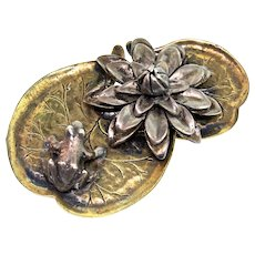 Vintage Rare Early Guglielmo CINI STERLING Frog On A Lily Pad Figural Brooch Pin