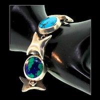 Mexican CII Sterling XO Love & Kisses Turquoise Onyx Malachite Agate Bracelet