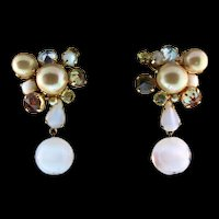 1960 CHRISTIAN DIOR Germany Inverted Rhinestone Moonglow Dangle Clip Earrings
