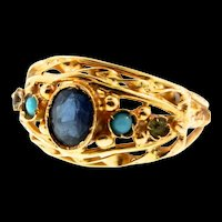 Vintage 22K Yellow Gold Fx Sapphire Glass Turquoise Ring Sz 6.5
