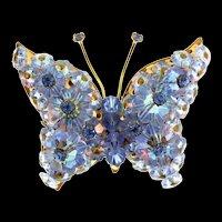 Vintage LAGUNA Butterfly Figural Margarita Glass Flower Rhinestone Brooch Pin (#8)