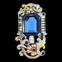 Vintage DUJAY Hirsch Metallic Enamel Sapphire Kashmir Glass Floral Dress Clip Pin