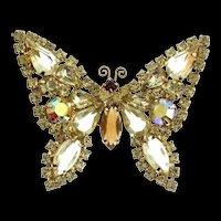Vintage WEISS Butterfly Figural Lemon Citrine Root Beer Rhinestone Brooch Pin