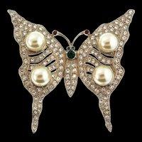 Vintage Large KJL Kenneth Jay Lane Butterfly Figural Fx Pearl Rhinestone Brooch Pin (#11)