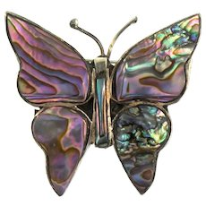 Vintage MEXICAN Sterling Abalone Shell Butterfly Figural Brooch Pin (#18)