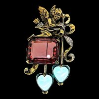 RARE 1940s KREISLER Cupid Cherub Angel Glass Heart Figural Rhinestone Brooch Pin