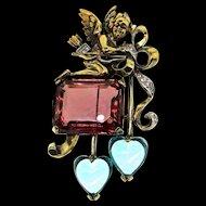 RARE 1940s KREISLER Cupid Cherub Angel Glass Heart Figural Rhinestone Brooch Pin