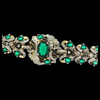 RARE Huge 1940s Philippe TRIFARI Empress Eugenie Emerald Glass Enamel BRACELET