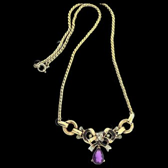 Vintage Philippe TRIFARI Pat Pend Amethyst Drop Enamel Bow Ribbon NECKLACE
