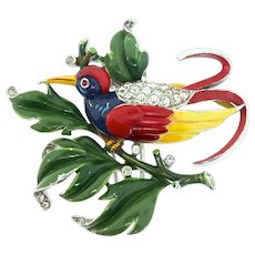 1940s Philippe TRIFARI Bird On A Leaf Figural Enamel Rhinestone Pin Fur Clip RARE Version